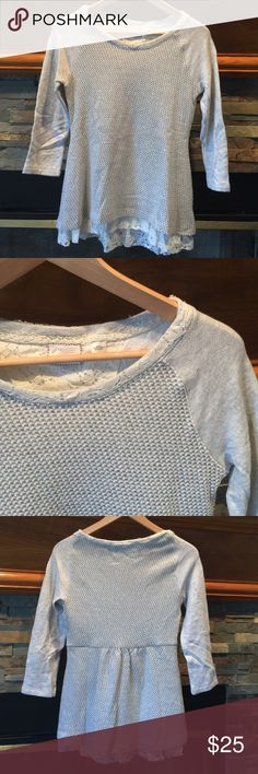 Anthropologie Top This top is perfect for the holidays! Has a slight metallic thread woven through and an added lace layer at the bottom. Never worn/ perfect condition. Anthropologie Tops