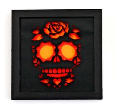 Framed Day Of the Dead Sugar Skull Cut Paper Wall Art by hvansick