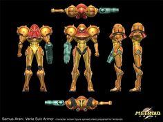 Metroid Prime: Samus Aran's Varia Suit, Metroids, etc, Gene Kohler Metroid Samus, Samus Aran, Character Sheet, Character Concept, Concept Art, Character Design, Armor Concept, Game Concept, Metroid Prime 2
