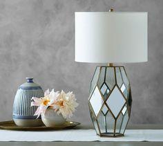 Grace Mirrored Paneled Lamp #potterybarn