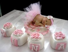 Tutu Baby Cake Topper Baby Shower 1st Birthday Princess Pink Tulle Ballerina with letter blocks