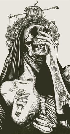 Skull, Death Woman, Blackwork Illustration