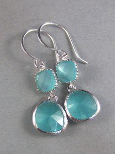 Hanna. Aquamarine ,Sterling Silver,Blue ,Silver Earrings,Opal,Bride,Wedding. Handmade jewelery by Valleygirldesigns Etsy.