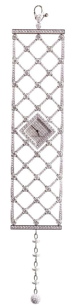 Harry Winston diamond watch with open lattice braceleet.