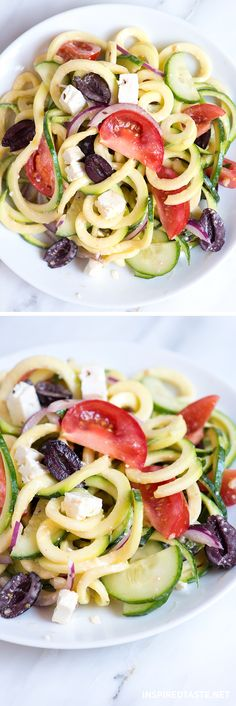 This Zucchini Noodles Salad takes no time at all — about 15 minutes — and holds up exceptionally well in the fridge.