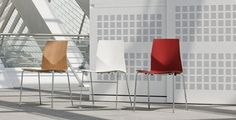 Super stacker stacks 20 on the ground/40 on trolly. Available with a polyamide or lacquered bentwood shell. Polyamide shell available in 10 standard colors. Chrome base standard. Powder coated frame available, minimum orders apply. Upholstered seatpad available. Linking device available.  Dimensions: W 20 D 20 H 32 SH 18 1/2