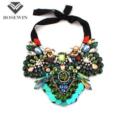 Women Party Accessories Luxury Statement Necklaces Collar Chokers Multicolor Crystal Imitation Gems Ribbon Maxi Jewelry
