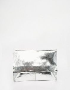ASOS Metallic Soft Leather Flap Over Clutch Bag