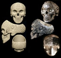http://www.tswittelsbach.com/ringscalvaris/sugarskull.html    This guy only seems to currently make it in silver, gold and platinum but the sterling version is still my favorite :(