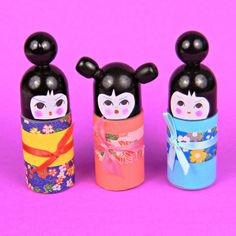 kokeshi doll from roll on deodorant bottle