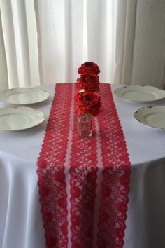 Items similar to Red Lace Table Runner wide 3 FT - 10 FT length /Cut lace not hemmed/Wedding Decor/ Red Weddings/ Free Sample Swatch on Etsy Red Wedding Decorations, Table Decorations, Free Wedding, Wedding Day, Lace Table Runners, Valentines Day Weddings, Lace Patterns, Lace Weddings, Red Lace