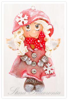 zimowy aniołek z masy solnej, masa solna, anioły anioł z masy solnej, salt dough angels, aniołki z masy solnej www.starapracownia.blogspot.com www.facebook.com/starapracownia