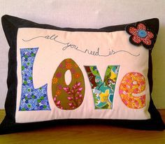 Applique Cushions (pattern available by Just Jude designs, Etsy)