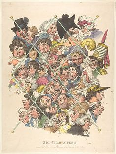 1801; Odd Characters  Thomas Rowlandson  (British, London 1757–1827 London)  Artist: Probably after George Moutard Woodward (British, ca. 1760–1809 London) Publisher: Published by Rudolph Ackermann (London) Date: February 16, 1801