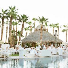 All-White Poolside Reception Decor
