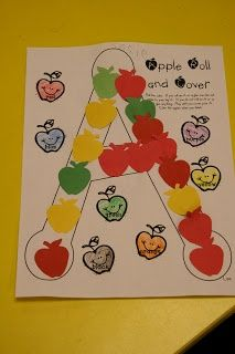 did I mention I LOVE fall! We had tons of fun with our apple unit this week and still didn't get it all done.we do go to the pum. Preschool Apple Theme, Apple Activities, Fall Preschool, Alphabet Activities, Preschool Classroom, Preschool Activities, Classroom Ideas, Classroom Organization, Preschool Apples