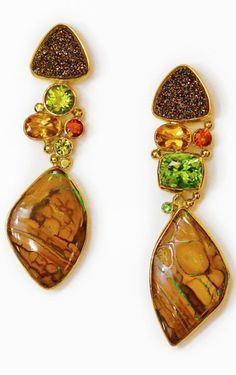 Jennifer Kalled, Yowah opal earrings with peridot, garnet, drusy,  & citrene in 22k and 18k gold.  Opals from Bill Kasso   www.kalledjewelrystudio.com