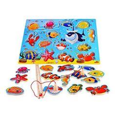 14 pezzi pesci di legno educativi Bagno magnetica pesca d'altura, regalo di compleanno Giocattoli per 2 3 4 anni dei bambini del capretto del bambino del della ragazza del ragazzo magnete giocattolo