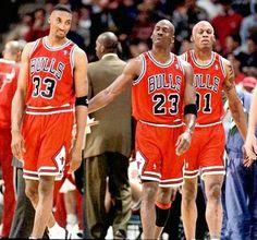 Scottie Pippen, Michael Jordan and Dennis Rodman