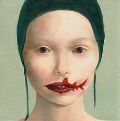"""""""Shark Bites"""", oil on panel, 2011, Aniela Sobieski"""