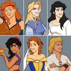It'd be recommendable for you to expect their boyfriends in this style  #disney #hercules #pocahontas #johnsmith #thelittlemermaid #princeeric #aladdin #thebeautyandthebeast #princeadam #thehunchbackofnotredame #phoebus