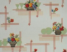 Vintage Wallpaper Kitchen pattern with friut flowers and green dishes 1930s Kitchen Wallpaper, Kitchen Wallpaper Patterns, Old Wallpaper, Vintage Walls, Vintage Prints, Vintage Decor, Vintage Style, Art Deco Kitchen, Vintage Kitchen