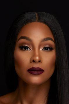 Black Bridal Makeup, Black Girl Makeup, Girls Makeup, Burgundy Eyeshadow Looks, Burgundy Makeup Look, Dark Skin Makeup, Hair Makeup, Dark Skin Eyeshadow, Makeup For Older Women