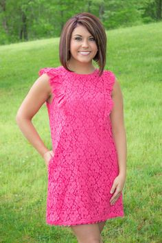 Coral Lace Dress- Pretty Dresses- Preppy Dress