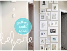 Small Space Gallery Wall Idea - White Picture Frames - helps to camo the thermostat White Picture Frames, Picture Wall, White Frames, Diy Wall Art, Diy Wall Decor, Home Decor, Space Gallery, Gallery Walls, Decorating With Pictures