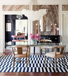 Black and white offset stripe rug