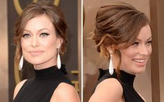 #Penteado de Olivia Wilde: cabelo preso, com ondas leves na frente.