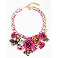 Rose Bloom Bib - hot pink chunky flower statement necklace by... (£22) ❤ liked on Polyvore featuring jewelry, necklaces, chunky necklaces, rose statement necklace, chunky flower necklace, chunky bib necklace and statement necklaces