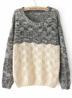 To find out about the Black Beige Long Sleeve Geo Pattern Sweater at SHEIN, part of our latest Sweaters ready to shop online today! Cute Sweaters, Pullover Sweaters, Sweatshirt, Big Sweater, Oversized Sweaters, Fall Sweaters, Comfy Sweater, Cotton Sweater, Long Sweaters