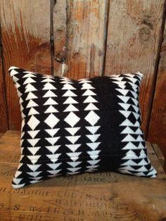 Native American Blanket Throw Pillow, Pendleton Wool Fabric, Black White