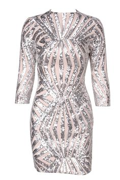 Silver Geometric Sequined and Mesh Bodycon Dress