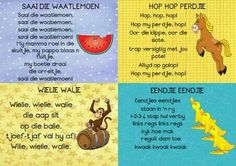 Afrikaanse rympies 2 Preschool Songs, Teaching Activities, Preschool Learning, Toddler Learning, Stem Activities, Teaching Ideas, Nursery Rymes, Afrikaans Language, Mickey Baby Showers