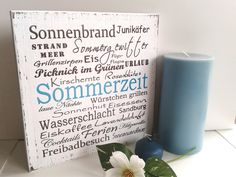pfeifers: Holzschild  - Sommerzeit von pfeifers auf DaWanda.com Summer Words, Coffee Games, Make A Family, Make A Person, Hallway Decorating, Whistler, Shabby Chic Style, Diy Dress, Cocktail Tables