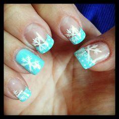 Baby blue snowflake nails