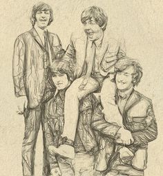 The Beatles - Akvis Draw. Beatles Art, Beatles Photos, The Beatles, Hey Dude, The Fab Four, Paul Mccartney, Cartoon Drawings, Attack On Titan, Music Bands