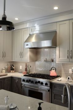 Contrasting Design Craft Cabinetry With Shades Of Grey Porcelain Gl Running Bond Backsplash Tilebath
