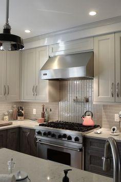 Contrasting Design Craft Cabinetry With Contrasting Shades Of Grey,  Porcelain U0026 Glass, Running Bond. Backsplash TileBath ...