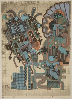 So many shapes and ideas inthis picture. Cave to Canvas, Eduardo Paolozzi, Aeschylus and Socrates, 1974-76