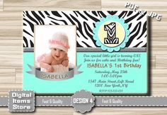 Girl Invitation, 1st Birthday, First Birthday Invitation, Invitations Printable for Girl