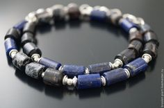 "Комплект браслетов ""ВинтаЖ-2,0"" из кожи, варисцита и лазурита. Handmade."