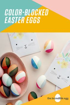 Experiment with new color palettes and color combinations with these fun DIY modern, color-blocked Easter eggs, courtesy of Oh So Beautiful Paper! Spring Crafts, Holiday Crafts, Holiday Fun, Egg Crafts, Crafts For Kids, Easter Egg Designs, Coloring Easter Eggs, Easter Activities, Hoppy Easter