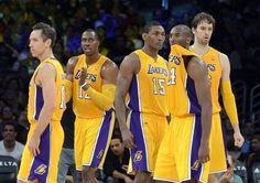 Los Angeles Lakers, from left, Steve Nash, Dwight Howard, Metta World Peace, Kobe Bryant and Pau Gasol.