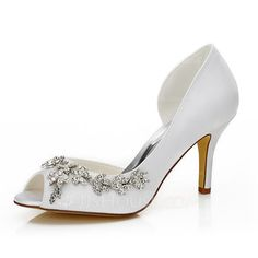 [US$ 55.99] Women's Satin Stiletto Heel Peep Toe Sandals With Rhinestone (047089942)