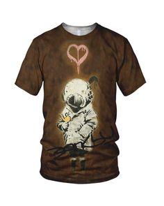 Amazon.co.jp: オールオーバーな3D印刷 Banksy The Little Diver Street Art ファッションレディースTシャツ: 服&ファッション小物通販