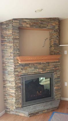 Fresh Stacked Stone Corner Fireplaces