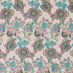 Green/Ivory Cream Floral Printed Polyester Chiffon Fabric by the Yard   Mood Fabrics